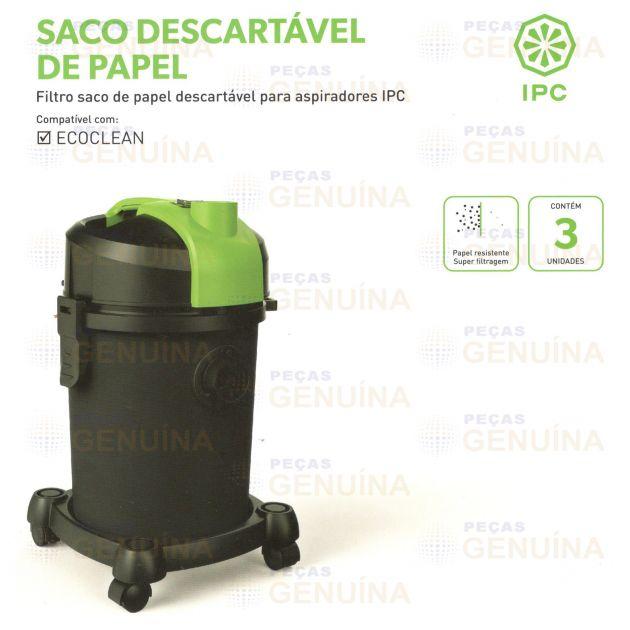 SACO DESCARTÁVEL IPC ECOCLEAN - KIT C/3 UN - SBNFILTRODECO