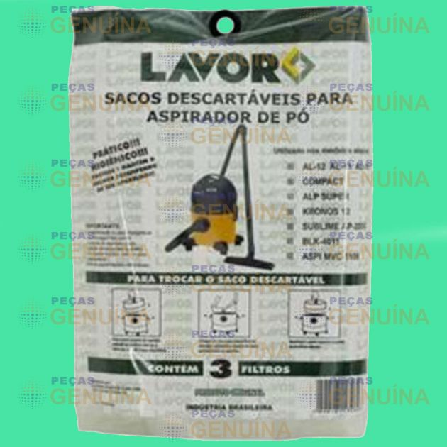 SACO DESCARTAVEL LAVOR COMPAC / AL12 / SUBLIME / KRONOS / ALP SUPER 12L - KIT C/ 3 UN